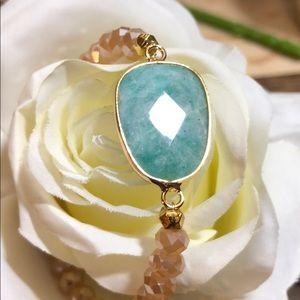 Amazonite Stone Peach Bead Bracelet